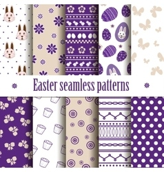 10 seamless easter patterns vector image vector image
