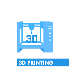 3d printer icon in flat style over white vector