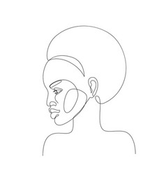 Abstract black woman profile in modern one line vector