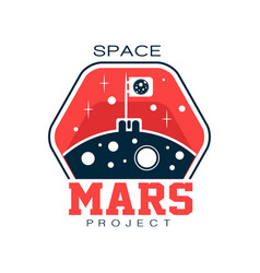 abstract logo with flag on mars discovering and vector image