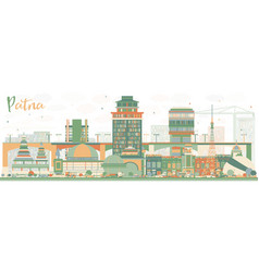 Abstract patna skyline with color buildings vector