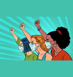 african asian caucasian women protest coronavirus vector image