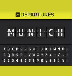 Airport flip board destination europe munich vector