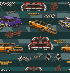 american muscle cars colorful seamless pattern vector image