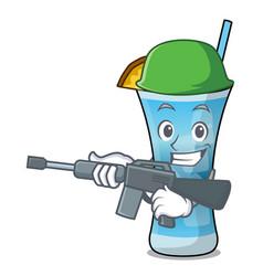 Army blue hawaii character cartoon vector
