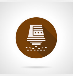 Automatic laser cutter brown round icon vector