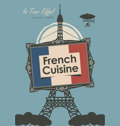 banner restaurant french cuisine with eiffel tower vector image