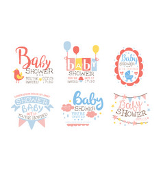 Bashower invitation templates set cute holiday vector