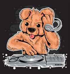 bear dj music teddy bear vector image