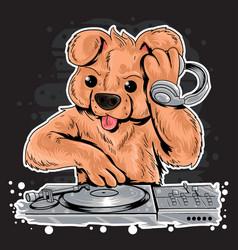 Bear dj music teddy vector