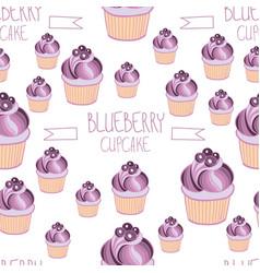 beautiful yummy blueberry cupcake seamless vector image