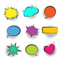 Big set of color retro comic speech bubbles vector