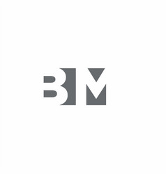 Bm logo monogram with negative space style design vector