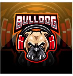 Bulldog wearing headphones esport mascot logo vector