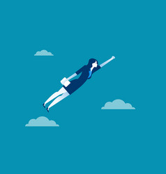 business woman character flying through sky vector image