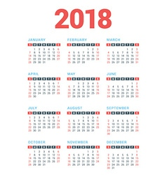 Calendar for 2018 Year on White Background Week vector