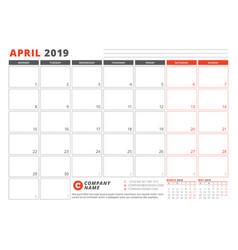 Calendar template for april 2019 business planner vector