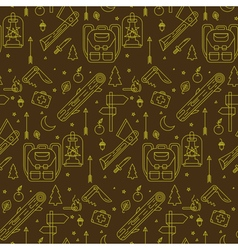 Camping Seamless Pattern in outline style vector image