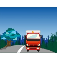 Cargo car on road vector