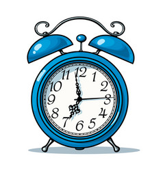 cartoon blue alarm clock vector image