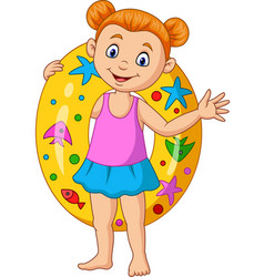 cartoon little girl with inflatable ring vector image
