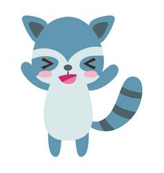 Colorful cute and cheerful raccoon wild animal vector