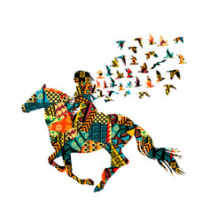 colorful ethnic motifs pattern a woman riding vector image