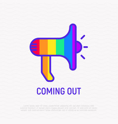 Coming out line icon magaphone in rainbow colors vector