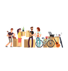 couple and kids holding cardboard box with vector image