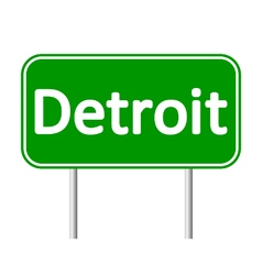 Detroit green road sign vector