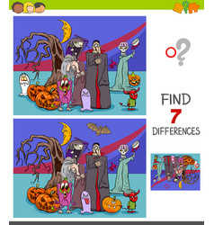 differences game with halloween characters vector image