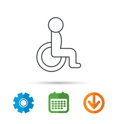 disabled person icon human on wheelchair sign vector image