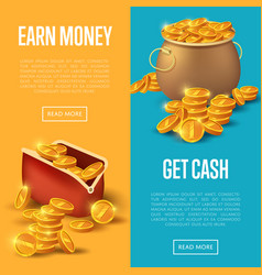 Earn money and get cash posters vector