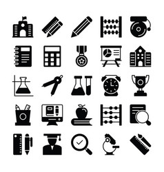 Education solid icons 1 vector