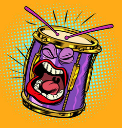 Emoji character emotion drum musical instrument vector