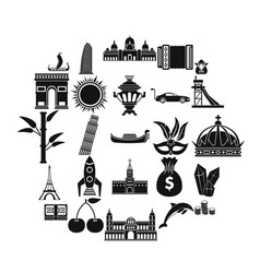 exploring the world icons set simple style vector image