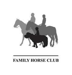 Family horse club emblem vector