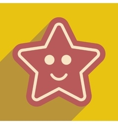 Flat icon with long shadow Gingerbread Christmas vector