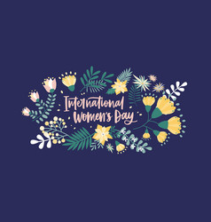 Floral postcard template with international women vector