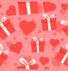 gift boxes and red hearts seamless pattern vector image