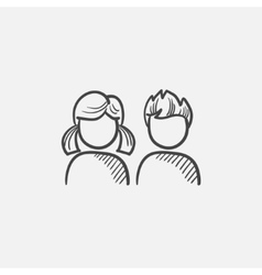Girl and boy sketch icon vector image