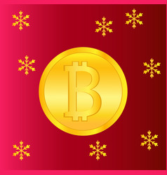 golden bitcoin banner for christmas and new year vector image