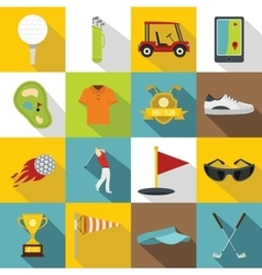 Golf items icons set flat style vector