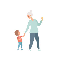 grandma walking with her little grandson vector image