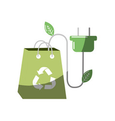 Green bag with recycle sign and power cable vector