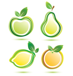 green fruits icons bio food concept vector image