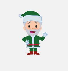 Green santa claus waving happy vector