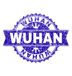 Grunge textured wuhan stamp seal with ribbon vector