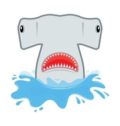 Hammerhead shark with open mouth He jumps out of vector