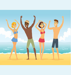 happy friends on beach - cartoon people vector image